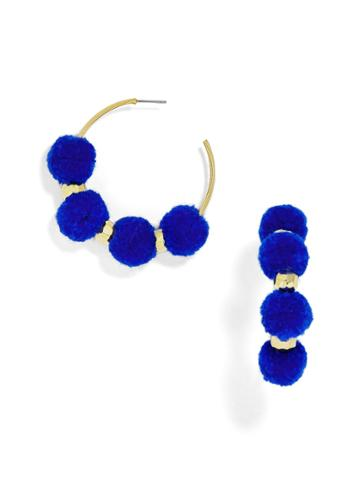 BaubleBar Havana Pom Pom Earrings-Cobalt Blue