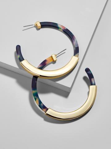 BaubleBar Tassiana Resin Hoop Earrings-Navy