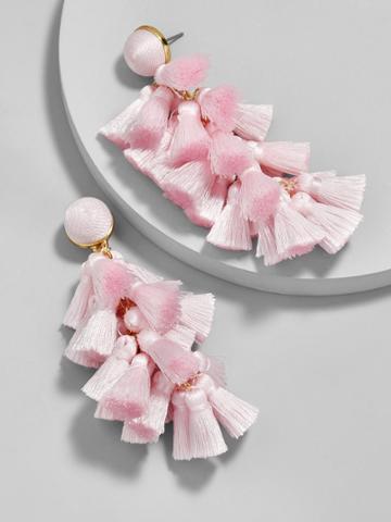 BaubleBar Contessa Tassel Earrings-Blush