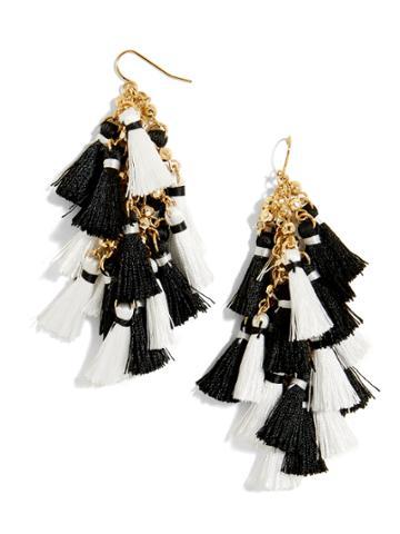 BaubleBar Rosalita Tassel Earrings-Black/White