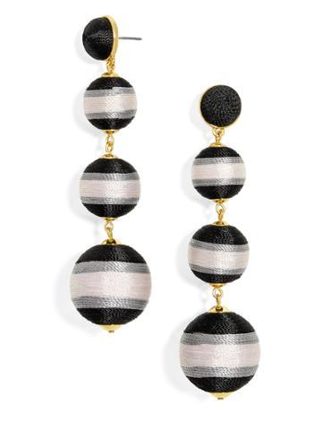 BaubleBar Criselda Ball Drop Earrings-Black/Light Gray/White