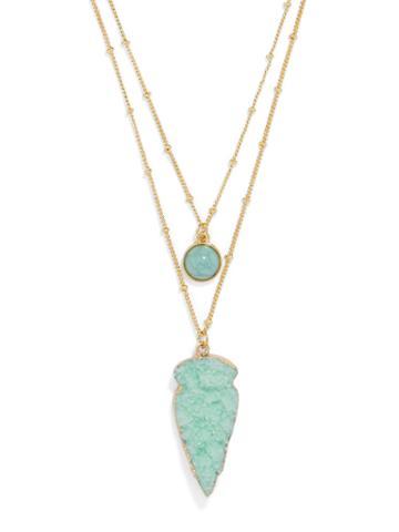 BaubleBar Aztec Layered Necklace-Mint
