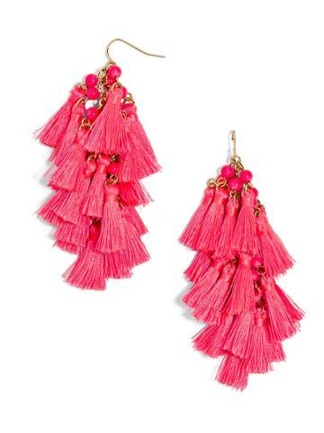 BaubleBar Rosalita Tassel Earrings-Neon Pink