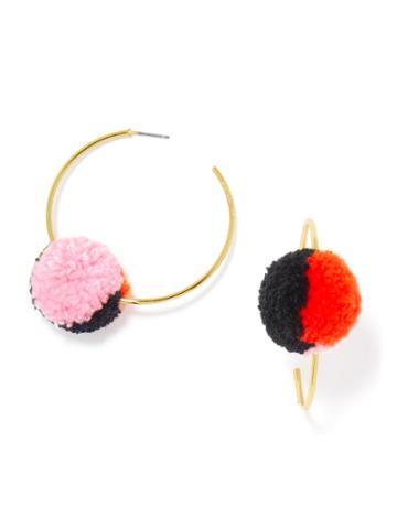 BaubleBar Antigua Hoops-Pink/Coral/Black