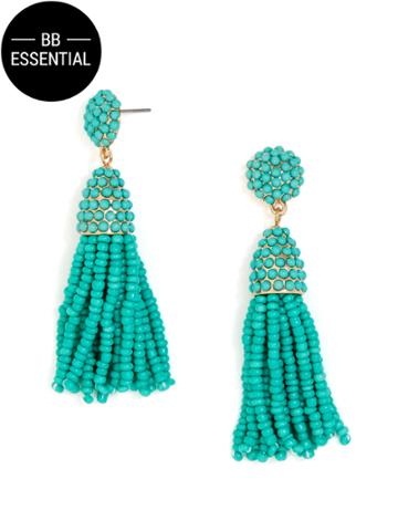 BaubleBar Mini Pinata Tassel Earrings-Sea Green