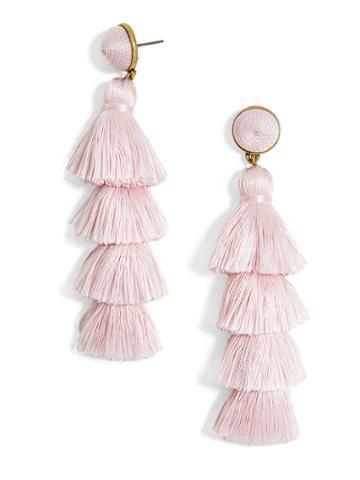 BaubleBar Gabriela Stud Tassel Earrings-Blush