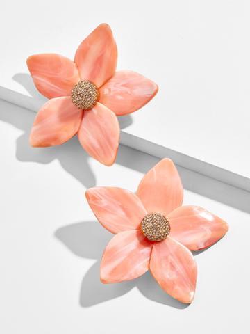 BaubleBar Adelissa Flower Resin Earrings-Coral