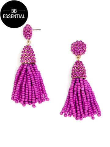 BaubleBar Mini Pinata Tassel Earrings-Purple