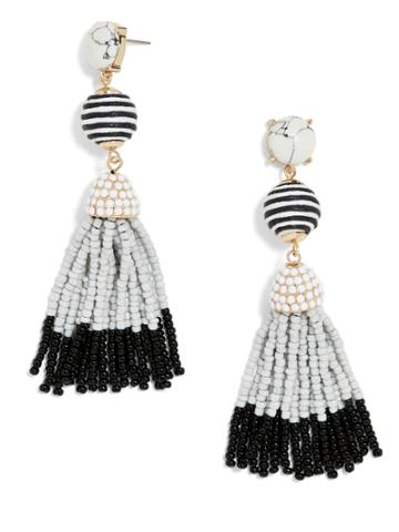 BaubleBar Catalina Tassel Earrings-White/Gray/Black