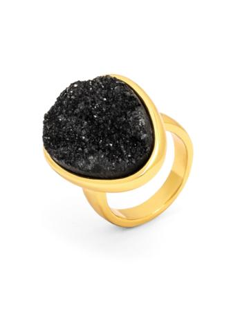 BaubleBar Druzy Cocktail Ring-Black-7