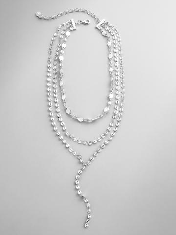 BaubleBar Aimee Layered Y-Chain Necklace-Silver