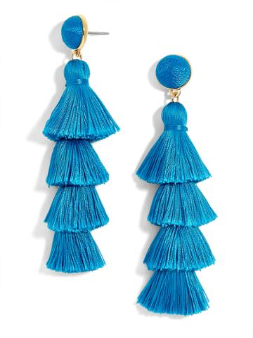 BaubleBar Gabriela Stud Tassel Earrings-Cerulean