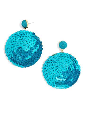 BaubleBar Queenie Sequin Drop Earrings-Mermaid Blue