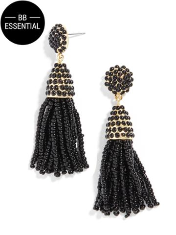 BaubleBar Mini Pinata Tassel Earrings-Black