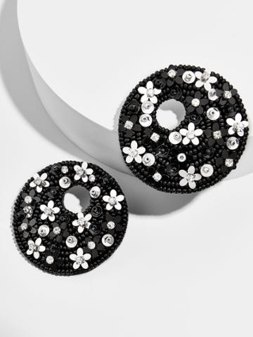 BaubleBar Macaria Hoop Earrings-Black