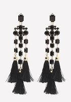 Bebe Faux Onyx Fringe Earrings