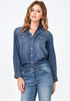 Bebe Washed Denim Military Shirt