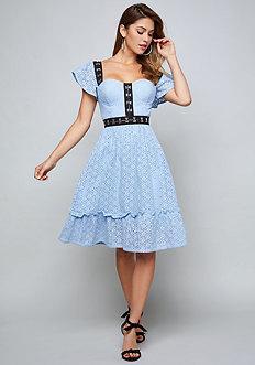 Bebe Lavine Crochet Lace Dress