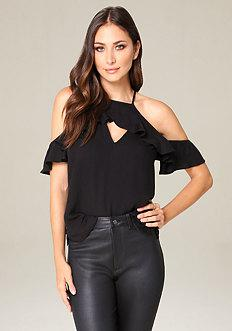 Bebe Brooke Flutter Sleeve Top