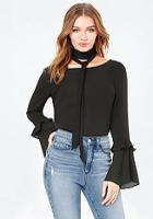 Bebe Layered Bell Sleeve Top