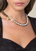 Bebe Faux Pearl Bow Necklace