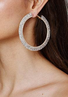 Bebe Crystal Mega Hoop Earrings