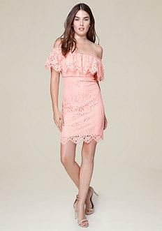 Bebe Scallop Lace Mini Dress