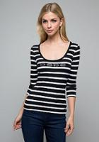 Bebe Striped Lace Back Top