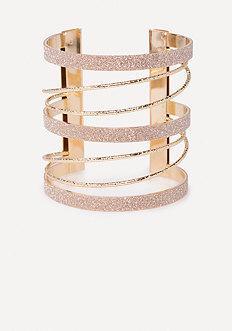 Bebe Glitter Metal Cuff