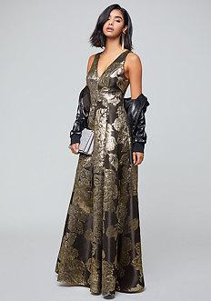 Bebe Lina Metallic Gown