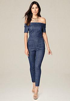 Bebe Sam Denim Knit Jumpsuit