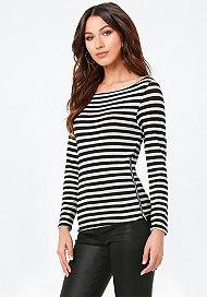 Bebe Metallic Striped Top