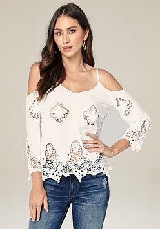 Bebe Eliza Crochet Lace Top