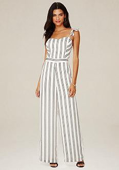 Bebe Striped Ruffle Jumpsuit