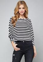 Bebe Logo Striped Dolman Top