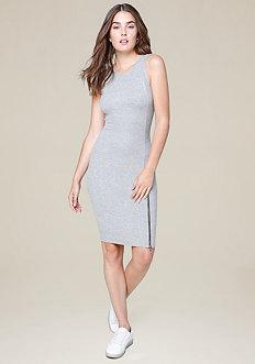 Bebe Logo Aela Zip Midi Dress