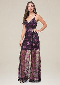 Bebe Two-tone Lace Gown
