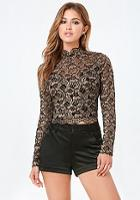 Bebe Gold Metallic Lace Top