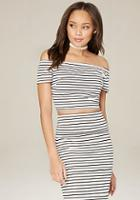 Bebe Striped Crop Top