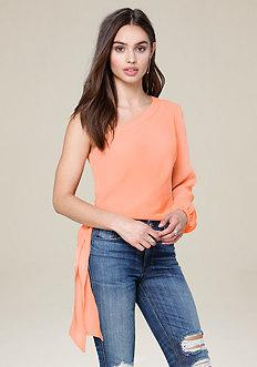 Bebe O-ring One Shoulder Top