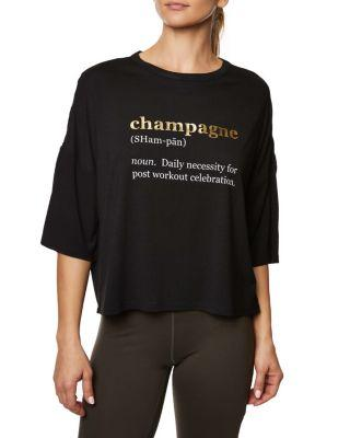 Steve Madden Champagne Daily Boxy Tee Black
