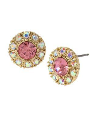 Steve Madden Betsey Blue Tickled Pink Halo Stud Earrings Pink