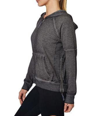 Steve Madden Icy Fleece Side Ribbed Zip Jacket Black