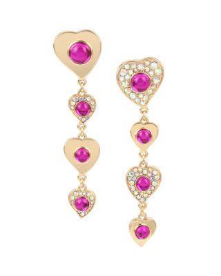 Steve Madden Breaking Hearts Linear Earrings Pink