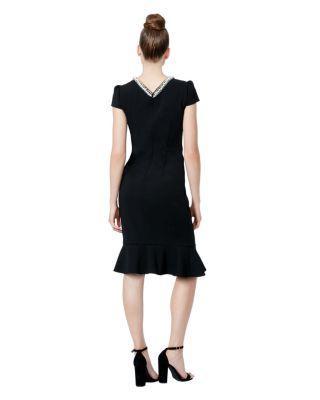 Steve Madden Pearl Collar Scuba Crepe Dress With Flounce Black