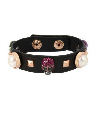 Steve Madden Duchess Of Betseyville Skull Leather Bracelet Multi