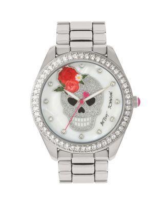Steve Madden Rosey Tiara Skull Watch Silver