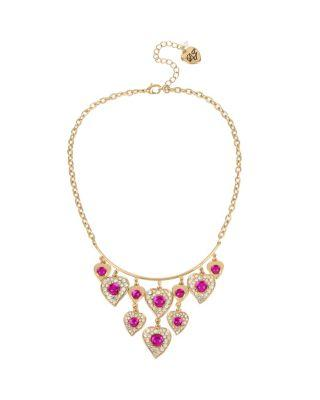 Steve Madden Breaking Hearts Shaky Necklace Pink