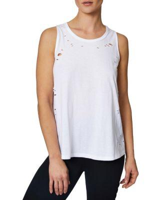 Steve Madden Distressed Lace Up Racerback Tank White