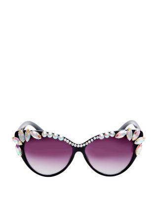 Steve Madden Blinged Out Cat Eye Sunglasses Black